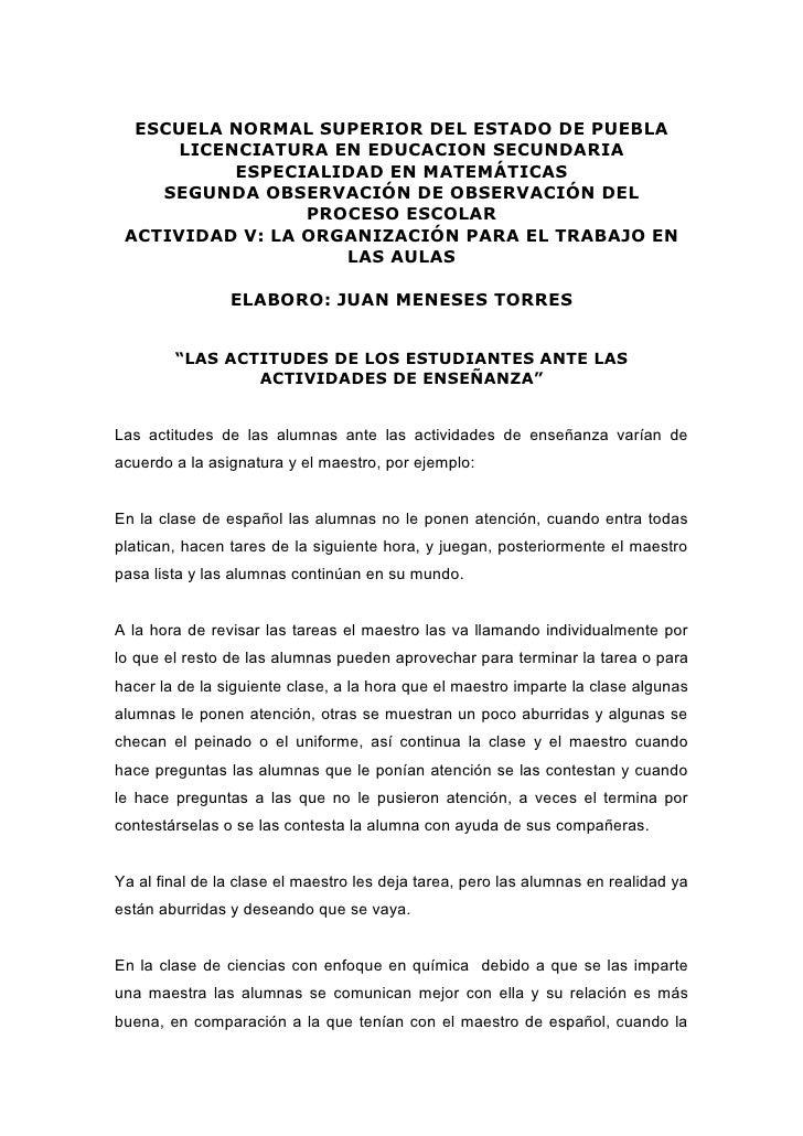 LAS ACTITUDES DE LOS ESTUDIANTES ANTE LAS ACTIVIDADES DE ENSEÑANZA