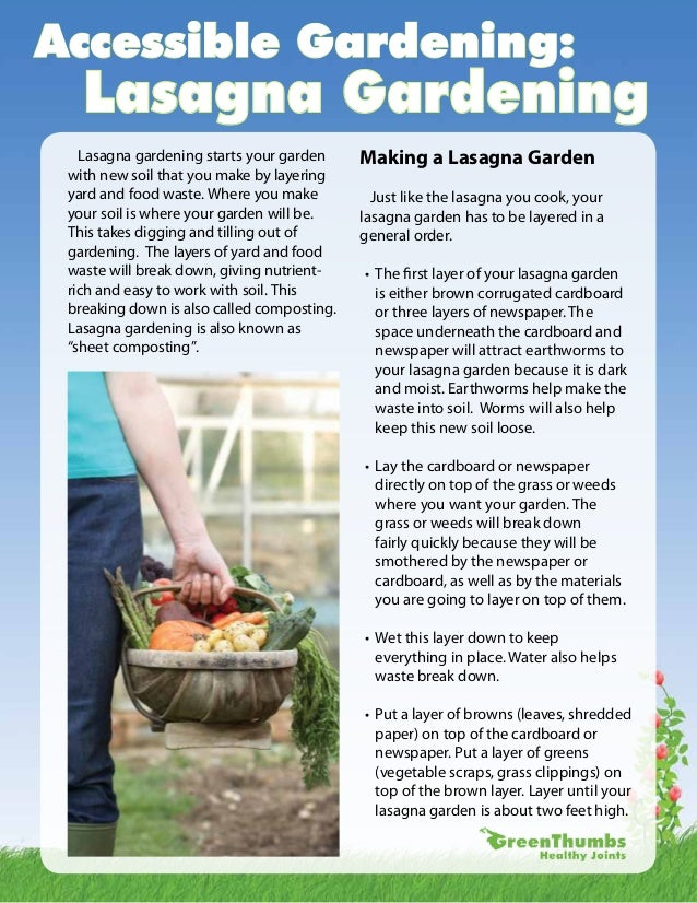 Accessible Gardening:   Lasagna Gardening   Lasagna gardening starts your garden     Making a Lasagna Garden with new soil...
