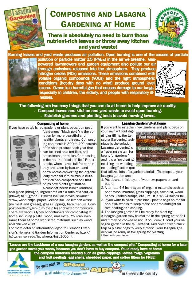 COMPOSTING AND LASAGNA                               GARDENING AT HOME                           There is absolutely no ne...