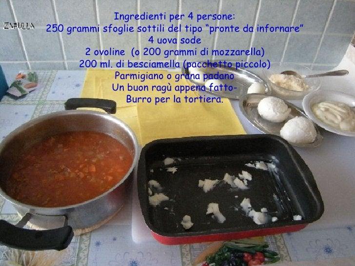 """Ingredienti per 4 persone:250 grammi sfoglie sottili del tipo """"pronte da infornare""""                     4 uova sode       ..."""