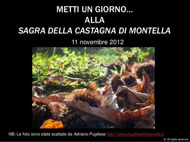 METTI UN GIORNO…                    ALLA     SAGRA DELLA CASTAGNA DI MONTELLA                                  11 novembre...