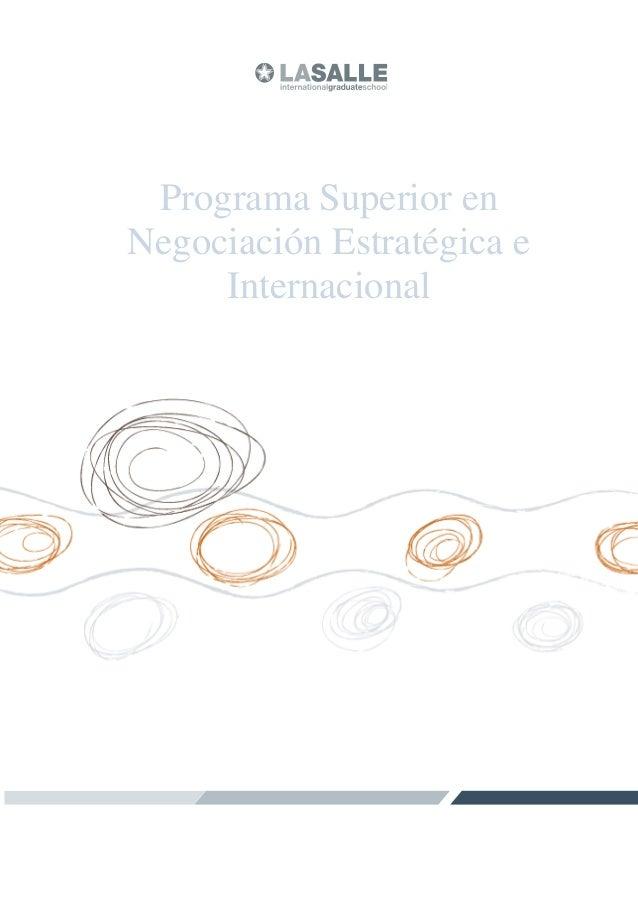 Programa Superior en Negociación Estratégica e Internacional