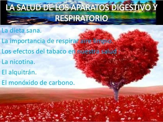 La dieta sana. La importancia de respirar aire limpio. Los efectos del tabaco en nuestra salud : La nicotina. El alquitrán...
