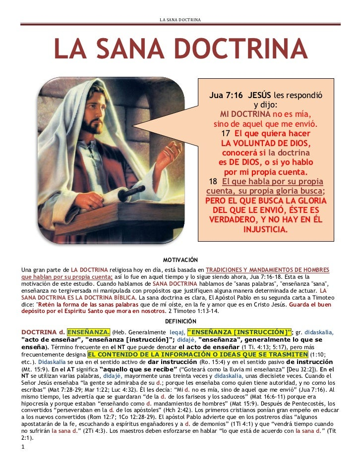 LA SANA DOCTRINA           LA SANA DOCTRINA                                                                       Jua 7:16...