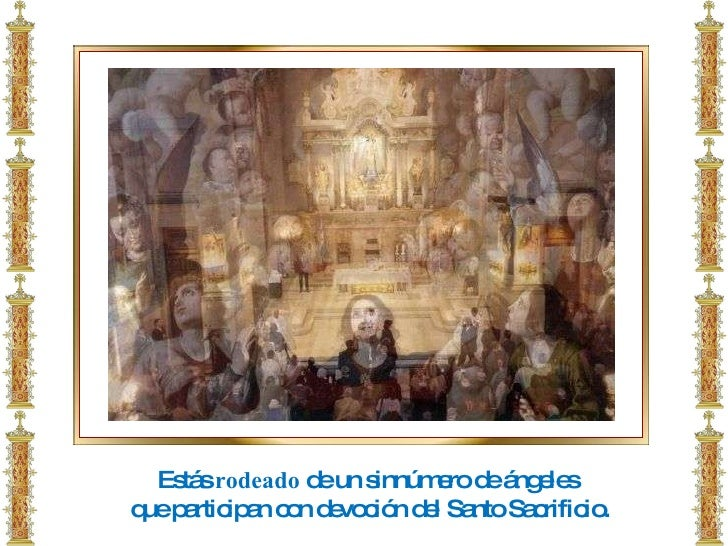 Estás  rodeado  de un sinnúmero de ángeles que participan con devoción del Santo Sacrificio.