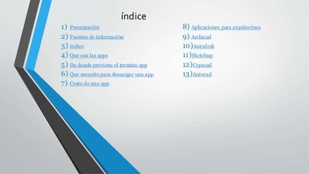 índice 1) Presentación 2) Fuentes de información 3) índice 4) Que son las apps 5) De donde proviene el termino app 6) Que ...