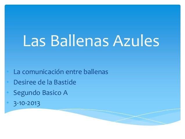 Las Ballenas Azules • La comunicación entre ballenas • Desiree de la Bastide • Segundo Basico A • 3-10-2013