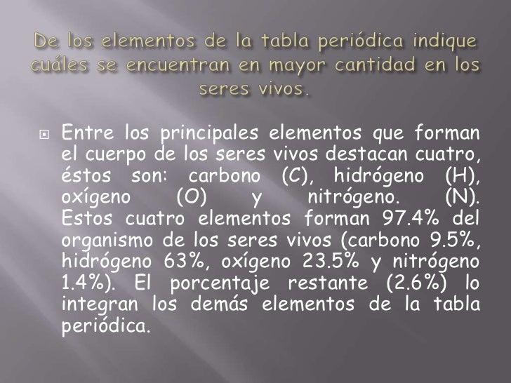De los elementos de la tabla periódica indique cuáles se encuentran en mayor cantidad en los seres vivos.<br />Entre los p...