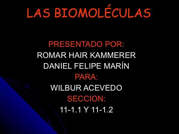 LAS BIOMOLÉCULAS PRESENTADO POR: ROMAR HAIR KAMMERER DANIEL FELIPE MARÍN PARA: WILBUR ACEVEDO SECCION: 11-1.1 Y 11-1.2