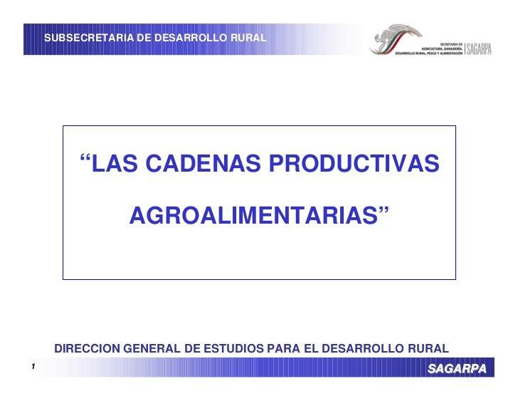 """SUBSECRETARIA DE DESARROLLO RURAL              """"LAS CADENAS PRODUCTIVAS                  AGROALIMENTARIAS""""          DIRECC..."""
