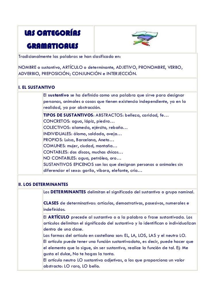 LAS CATEGORÍAS    GRAMATICALESTradicionalmente las palabras se han clasificado en:NOMBRE o sustantivo, ARTÍCULO o determin...