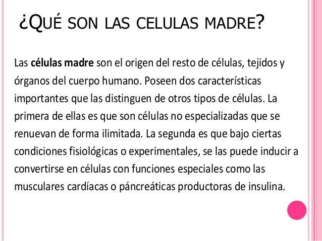 ¿QUÉ       SON LAS CELULAS MADRE?Las células madre son el origen del resto de células, tejidos yórganos del cuerpo humano....