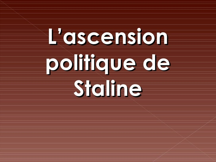 L'ascension politique de Staline