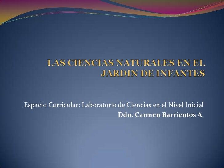 Espacio Curricular: Laboratorio de Ciencias en el Nivel Inicial                                Ddo. Carmen Barrientos A.