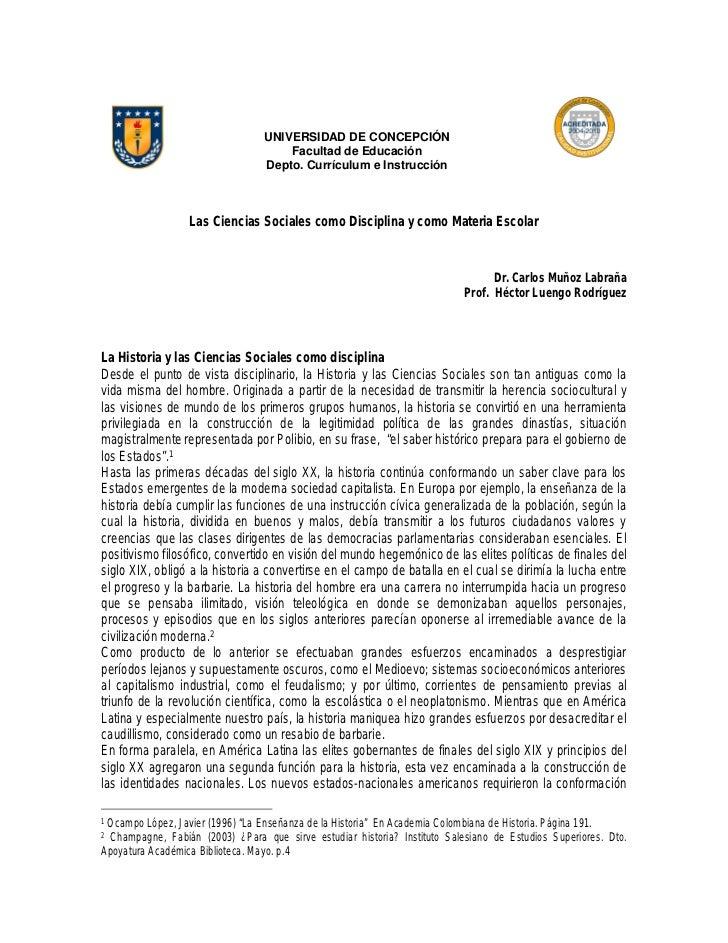 UNIVERSIDAD DE CONCEPCIÓN                                     Facultad de Educación                                 Depto....