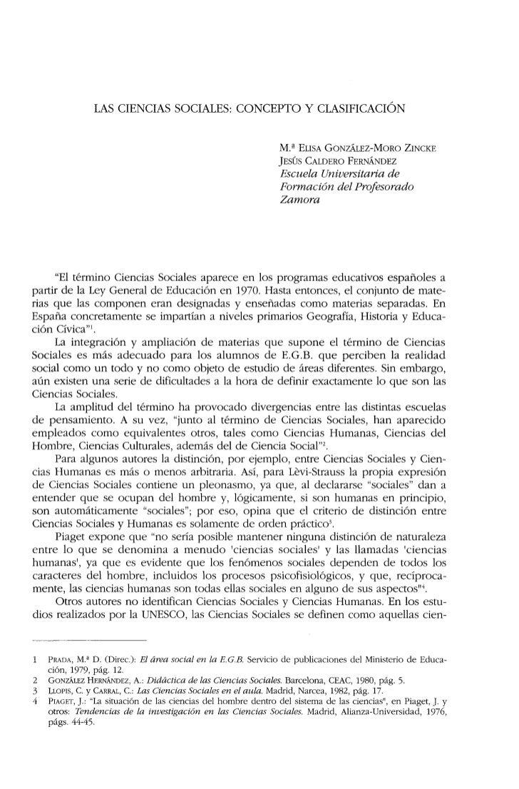 LAS CIENCIAS SOCIALES: CONCEPTO Y CLASIFICACIÓN                                                                M.â ELISA G...
