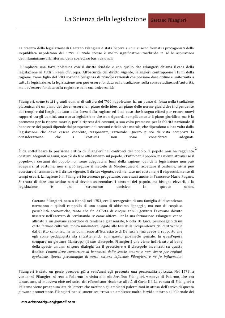 La Scienza della legislazione                           Gaetano FilangieriLa Scienza della legislazione di Gaetano Filangi...