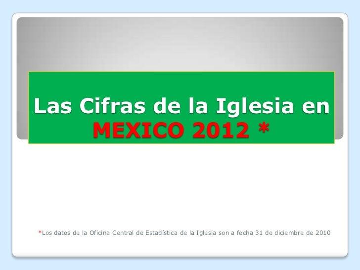 Las Cifras de la Iglesia en     MEXICO 2012 **Los datos de la Oficina Central de Estadística de la Iglesia son a fecha 31 ...
