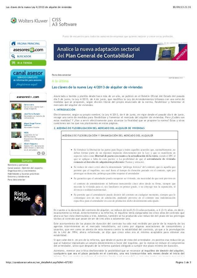 30/09/13 21:31Las claves de la nueva Ley 4/2013 de alquiler de viviendas Página 1 de 3http://canalasesor.wke.es/ver_detall...
