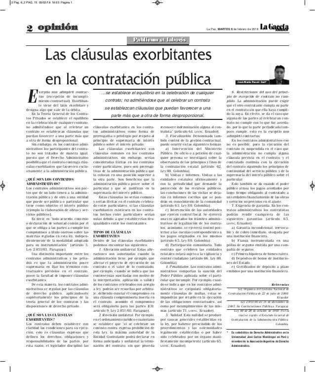 2 opinión La Paz, MARTES 6 de febrero de 2018 cláusulas exorbitantes en los contra- tos administrativos como forma de prer...
