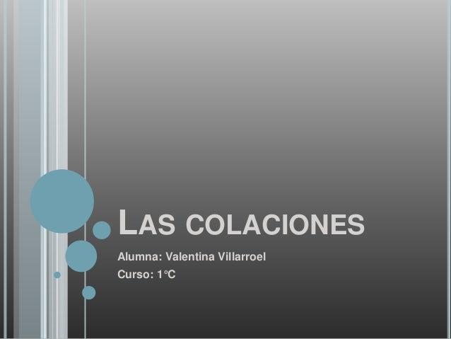 LAS COLACIONES Alumna: Valentina Villarroel Curso: 1°C