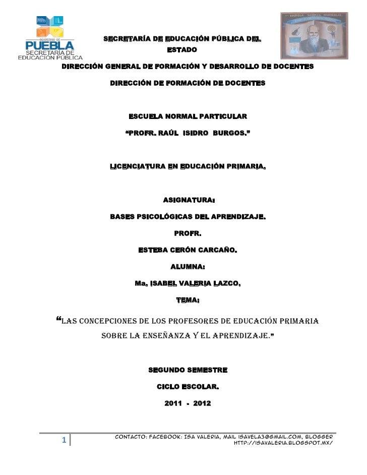 SECRETARÍA DE EDUCACIÓN PÚBLICA DEL                           ESTADO DIRECCIÓN GENERAL DE FORMACIÓN Y DESARROLLO DE DOCENT...