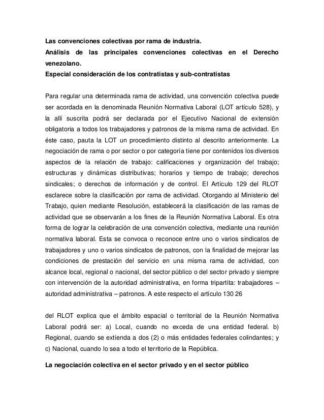 Las convenciones colectivas por rama de industria.Análisis de las principales convenciones colectivas en el Derechovenezol...