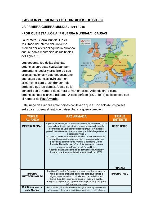 LAS CONVULSIONES DE PRINCIPIOS DE SIGLO LA PRIMERA GUERRA MUNDIAL 1914-1918 ¿POR QUÉ ESTALLÓ LA 1ª GUERRA MUNDIAL? . CAUSA...