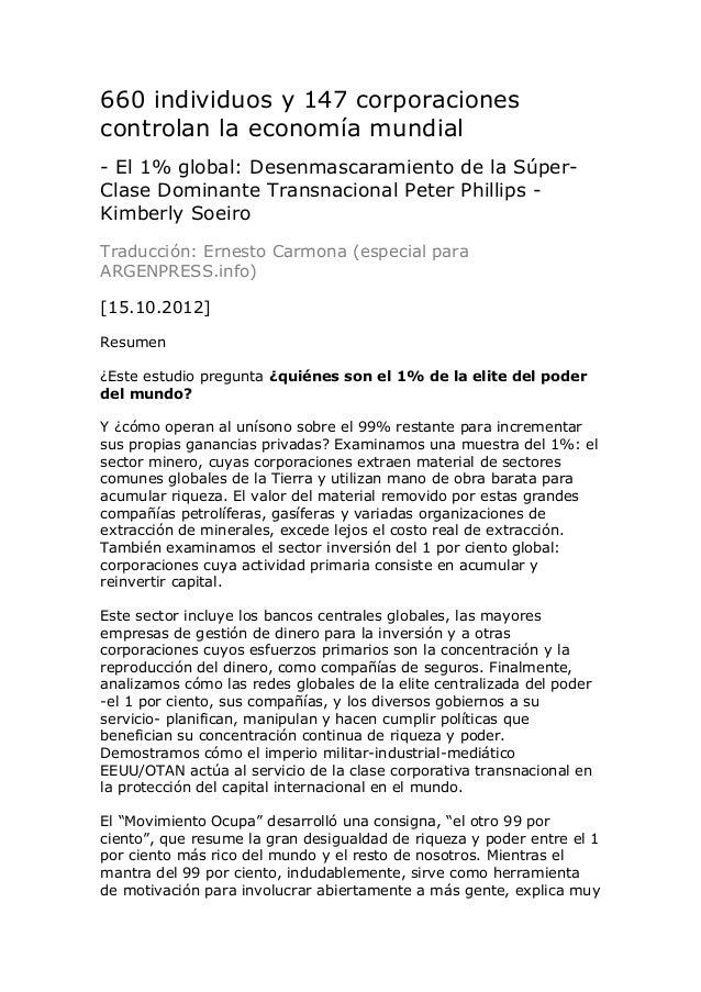 660 individuos y 147 corporacionescontrolan la economía mundial- El 1% global: Desenmascaramiento de la Súper-Clase Domina...