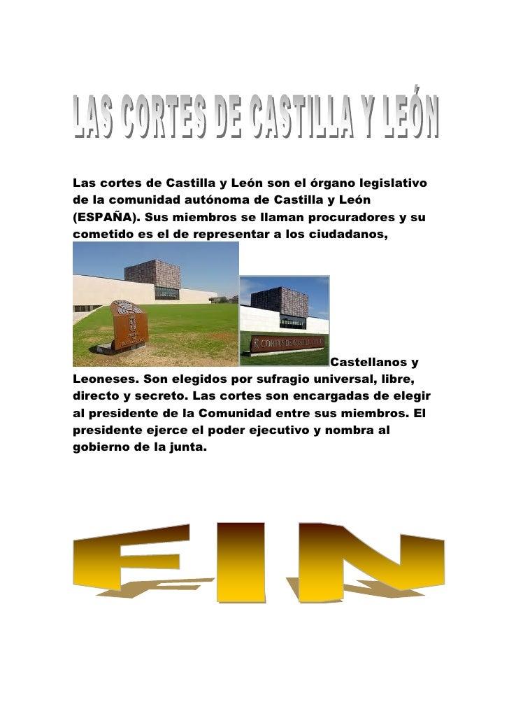 Las cortes de Castilla y León son el órgano legislativode la comunidad autónoma de Castilla y León(ESPAÑA). Sus miembros s...