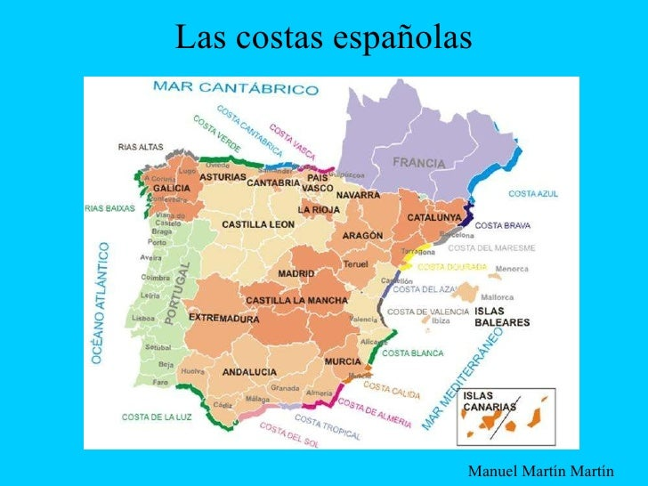 Costas De España Mapa.Las Costas Espanolas