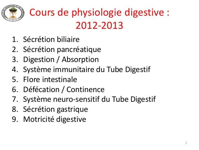 Cours de physiologie digestive :                2012-20131.   Sécrétion biliaire2.   Sécrétion pancréatique3.   Digestion ...