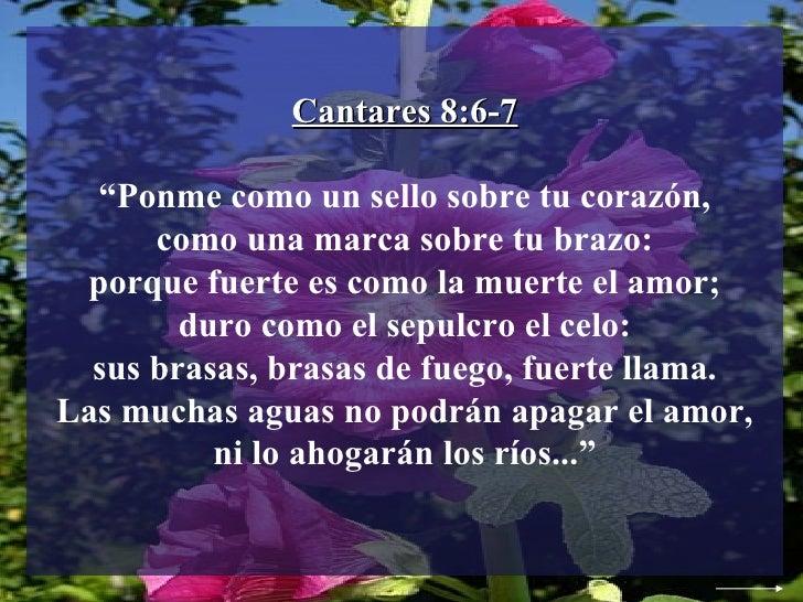 """Cantares 8:6-7 """" Ponme como un sello sobre tu corazón, como una marca sobre tu brazo: porque fuerte es como la muerte el a..."""