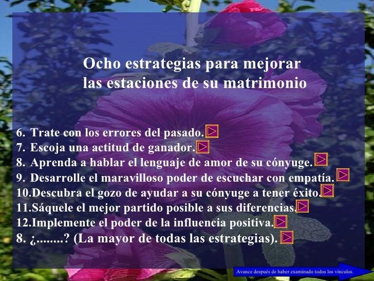 <ul><li>Ocho estrategias para mejorar </li></ul><ul><li>las estaciones de su matrimonio </li></ul><ul><li>Trate con los er...