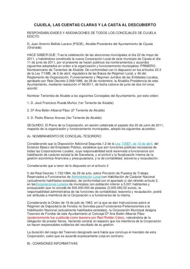 CIJUELA, LAS CUENTAS CLARAS Y LA CASTA AL DESCUBIERTO  RESPONSABILIDADES Y ASIGNACIONES DE TODOS LOS CONCEJALES DE CIJUELA...