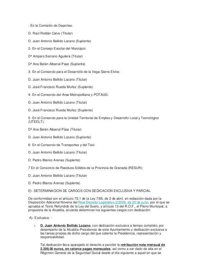 - En la Comisión de Deportes:  D. Raúl Roldán Calvo (Titular)  D. Juan Antonio Bellido Lozano (Suplente)  2- En el Consejo...