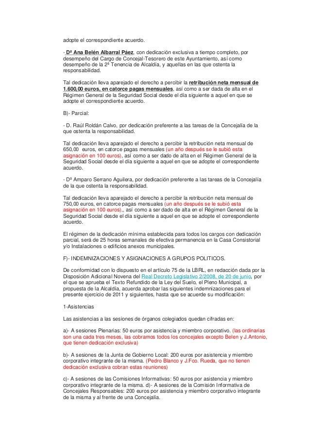 adopte el correspondiente acuerdo.  - Dª Ana Belén Albarral Páez, con dedicación exclusiva a tiempo completo, por  desempe...