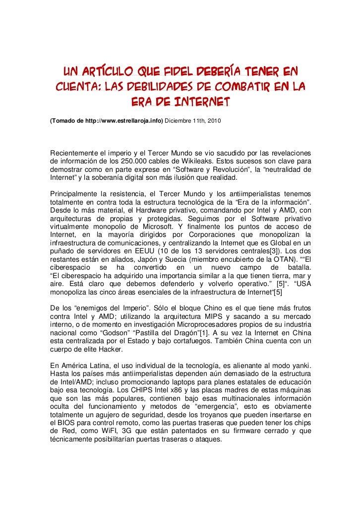Un artículo que Fidel debería tener en  cuenta: Las debilidades de combatir en la               era de Internet(Tomado de ...