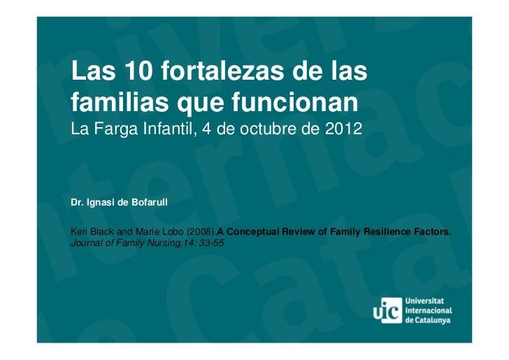 Las 10 fortalezas de lasfamilias que funcionanLa Farga Infantil, 4 de octubre de 2012Dr. Ignasi de BofarullKeri Black and ...