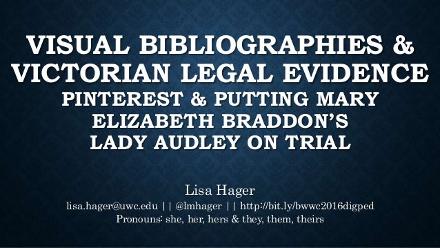 VISUAL BIBLIOGRAPHIES & VICTORIAN LEGAL EVIDENCE PINTEREST & PUTTING MARY ELIZABETH BRADDON'S LADY AUDLEY ON TRIAL Lisa Ha...