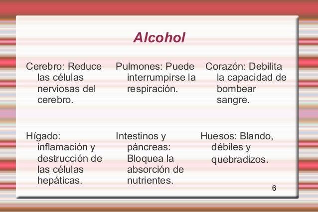 AlcoholCerebro: Reduce    Pulmones: Puede Corazón: Debilita  las células        interrumpirse la la capacidad de  nerviosa...