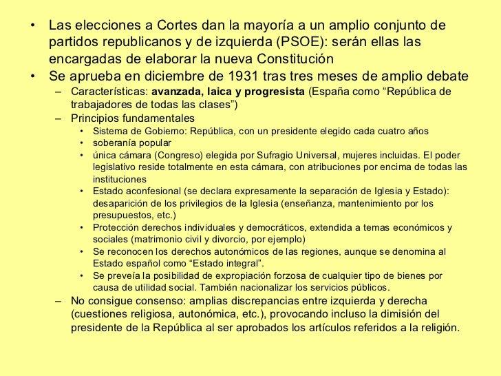 <ul><li>Las elecciones a Cortes dan la mayoría a un amplio conjunto de partidos republicanos y de izquierda (PSOE): serán ...