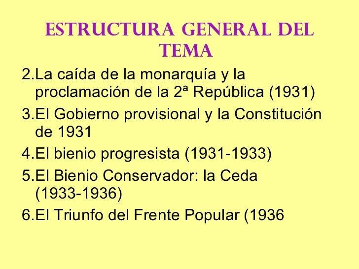 <ul><li>ESTRUCTURA GENERAL DEL TEMA </li></ul><ul><li>La caída de la monarquía y la proclamación de la 2ª República (1931)...
