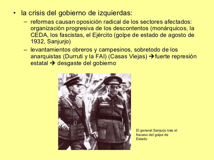<ul><li>la crisis del gobierno de izquierdas:  </li></ul><ul><ul><li>reformas causan oposición radical de los sectores afe...