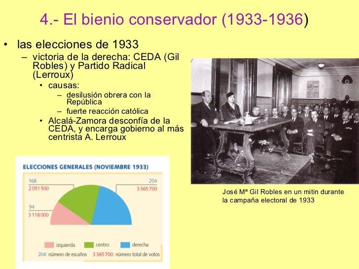 4.- El bienio conservador (1933-1936 ) <ul><li>las elecciones de 1933 </li></ul><ul><ul><li>victoria de la derecha: CEDA (...