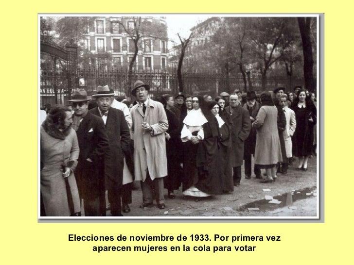 Elecciones de noviembre de 1933. Por primera vez aparecen mujeres en la cola para votar