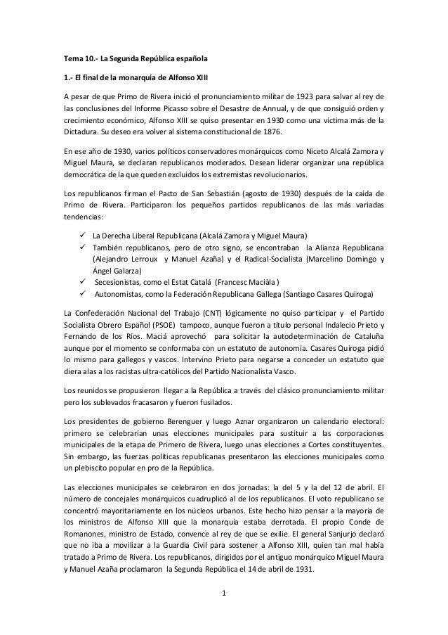 1Tema 10.- La Segunda República española1.- El final de la monarquía de Alfonso XIIIA pesar de que Primo de Rivera inició ...