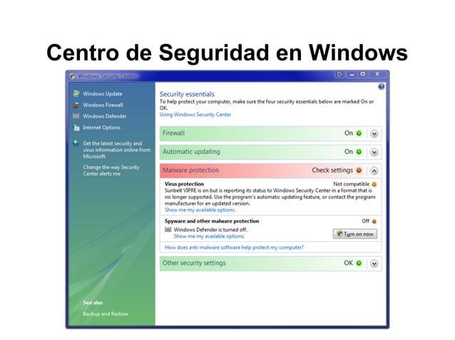 Centro de Seguridad en Windows