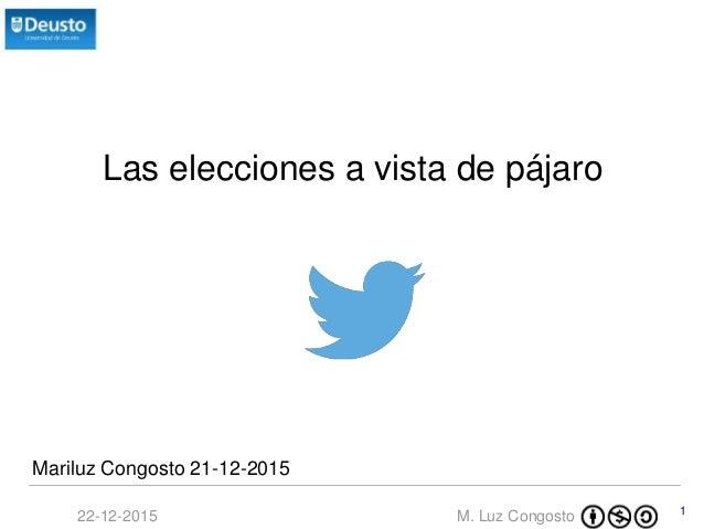 M. Luz Congosto22-12-2015 1 Las elecciones a vista de pájaro Mariluz Congosto 21-12-2015
