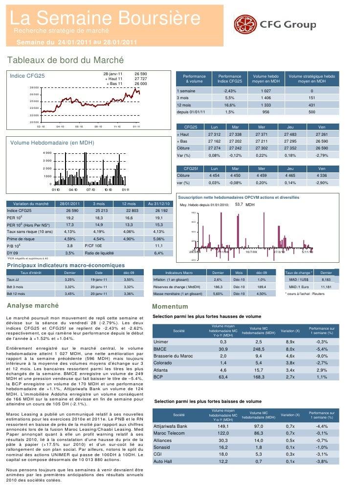 La Semaine Boursière     Recherche stratégie de marché       Semaine du 24/01/2011 au 28/01/2011Tableaux de bord du Marché...